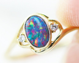 Aust - L Size 14k Doublet Opal Ring OPJ 2570