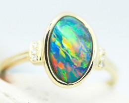 Aust - L Size 14k Doublet Opal Ring OPJ 2576