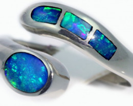 Aust - N Size Adjustable Inlay Opal 18k White Gold Ring SB 910