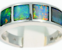 Aust - P Size Cute Inlay Opal 18k White Gold Ring SB919