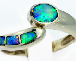 Aust - R Size Adjustable Inlay Opal 18k White Gold Ring SB 908