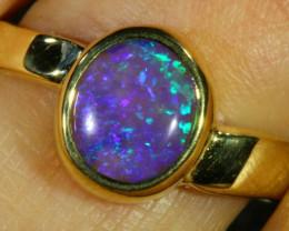 Aust - N Size Cute Crystal Opal 18k Yellow Gold Ring SB 891