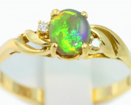 Aust - N Size Solid Crystal Opal 18k Yellow Gold Ring SB940