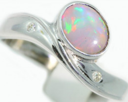 Aust - N Size Solid Crystal Opal 18k White Gold Ring SB945