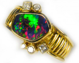 Aust - N Size GEM BOULDER OPAL 18K GOLD RING SIZE 7 N 5 DIAMONDS A847