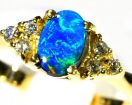Aust - P Size Cute Black Opal 18k Yellow Gold Ring SB 874