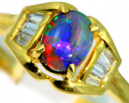 Aust - P Size Solid Black Opal Yellow Gold Ring SB970