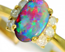 Aust - N Size Solid Black Opal Yellow Gold Ring SB971