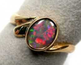 Aust - P Size BRIGHT FIRE CRYSTAL OPAL 18K GOLD RING SIZE 7.5 SCO928