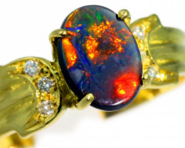 Aust - N Size Solid Black Opal Yellow Gold Ring SB976
