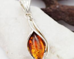 Baltic Amber Sale, Silver Leaf design Pendant AM1828