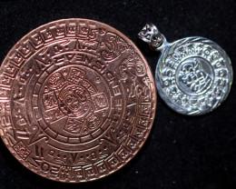 Sun God ,Aztec n Mayan Silver pendant n Calendar CP 344