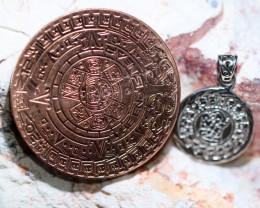 Sun God ,Aztec n Mayan Silver pendant n Calendar CP 345