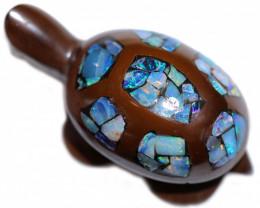 Australian Opal inlaid ironstone Turtle BU 2493