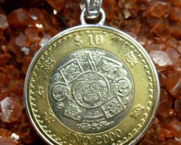 AZTEC SUN GOD COIN PENDANT,SILVER BALE  CP 348