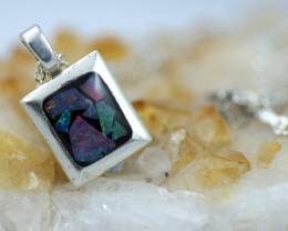 Bright AUSTRALIAN Mosaic Triplet  Opal Pendant emerald Shape BU 2558