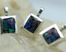 3 x Bright Mosaic Triplet  Opal Pendant emerald Shape BU 2572