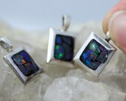 3 x Bright Mosaic Triplet  Opal Pendant emerald Shape BU 2573