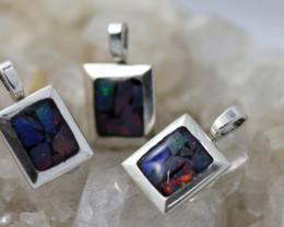 3 x Bright Mosaic Triplet  Opal Pendant emerald Shape BU 2574