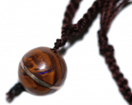 Unique Boulder ball Pendant with sterling silver wire  Bu 2587
