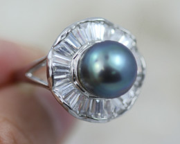 Natural Fresh Water Pearl Ring size  R-  BU  2597