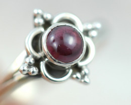 Natural Garnet Silver  Ring size    N-   BU  2598