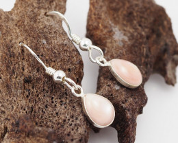 Sheppard hook Pink Pearl shell Silver Earrings, ,AM 1169