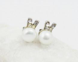 Ivory fresh water Pearl ,cute style silver Earrings, ,AM 1176