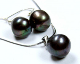 SET NATURAL PEARLS,EAR PENDANT N SILVER CHAIN GTJA560