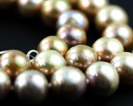 8 mm rGolden graded high luster pearl strand 40cm length AGR 981