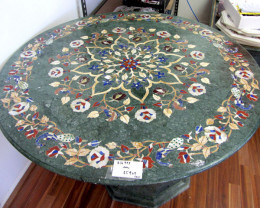 Pietra Dura Inlay  green Marble Table,  detailed Floral design