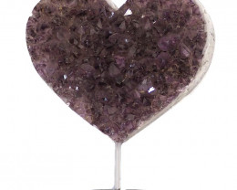 2.25kg Natural Amethyst Druze Heart on Stand DS58