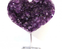 5.05kg Natural Amethyst Druze Heart on Stand DS60