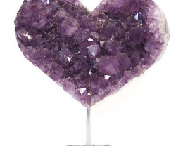 4.5kg Natural Amethyst Druze Heart on Stand DS62
