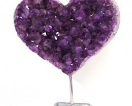 5.65kg Natural Amethyst Druze Heart on Stand DS63