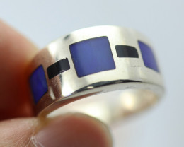 Inlay Opal in Silver ring size P  Bu 2630