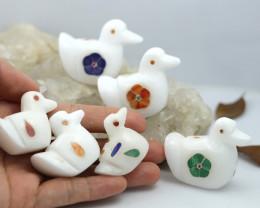 Cute DUCK family marble Gemstone carvings Bu 2642