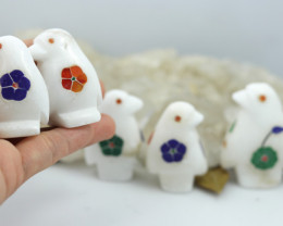 Cute PENQUIN  family marble Gemstone carvings Bu 2649