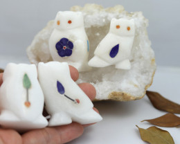 Cute OWL   family marble Gemstone carvings Bu 2654