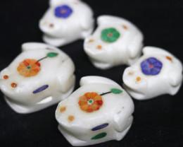5 Cute  RAINFOREST FROG  family marble Gemstone carvings Bu 2657