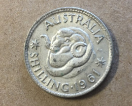 1961 one shilling  Silver Coin CP 411