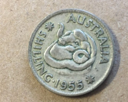 1955 one shilling  Silver Coin CP 414