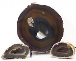 0.8kg Sliced Brazilian Crystal Agate Lamp with Crystal Specimen J102