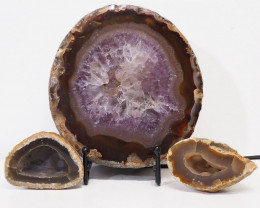 1.2kg Sliced Brazilian Crystal Agate Lamp with Crystal Specimen J109