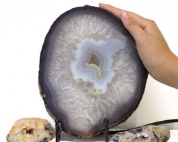 1.3kg Sliced Brazilian Crystal Agate Lamp with Crystal Specimen J112