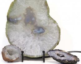 1.7kg Sliced Brazilian Crystal Agate Lamp with Crystal Specimen J113