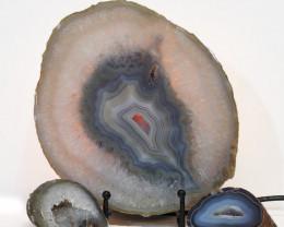 1.7kg Sliced Brazilian Crystal Agate Lamp with Crystal Specimen J114