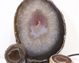 1.7kg Sliced Brazilian Crystal Agate Lamp with Crystal Specimen J115