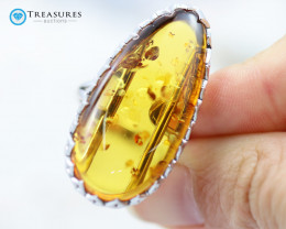 28Cts Baltic Amber Sale, Silver Ring - AM 1970