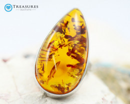 40Cts Baltic Amber Sale, Silver Ring - AM 1973